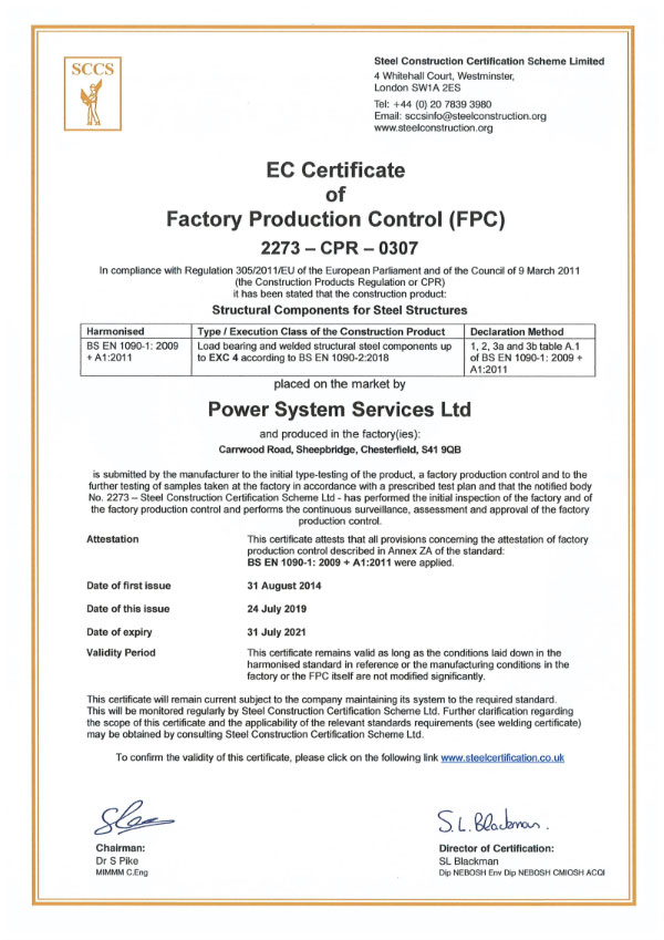 Fabrication CE Marking Certs 2019 - 2021