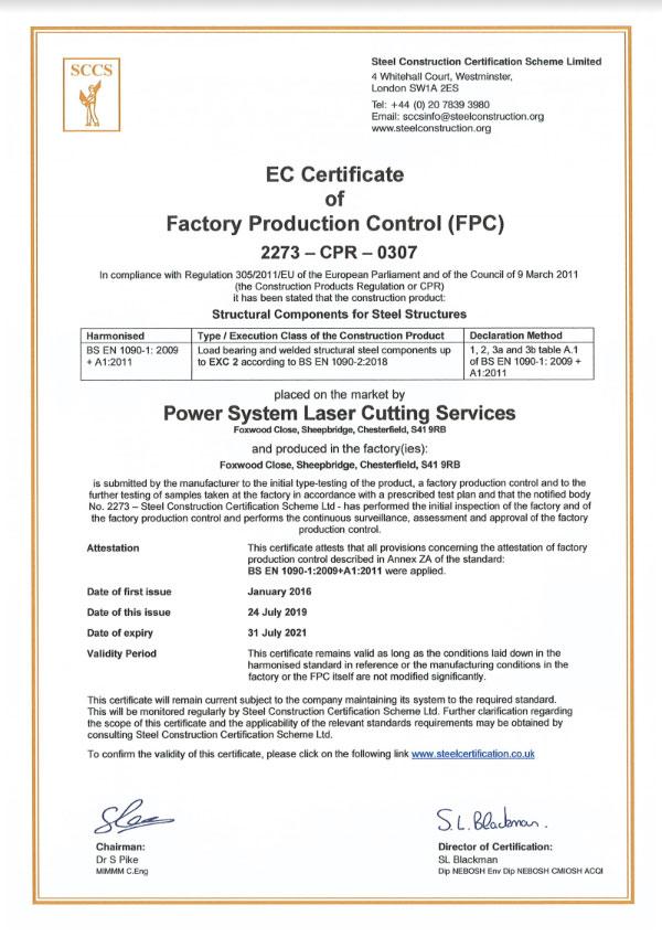 Laser Shop CE Marking Cert 2019-2021
